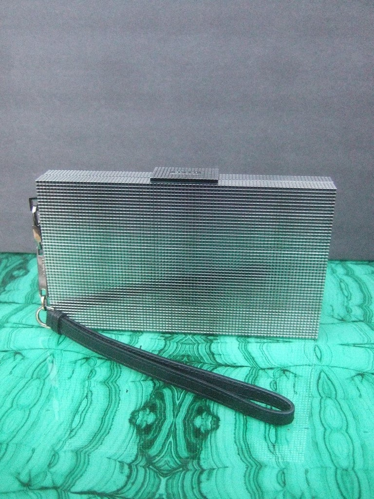 Gucci Italy Sleek Silver Metal Minaudière Wristlet Clutch Tom Ford Era c 1990s For Sale 11