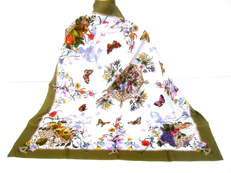 Women's Gucci Italy Spring Floral and Butterfly Hand Rolled Silk Scarf, circa 1970s  For Sale