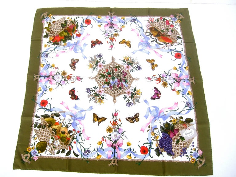 Gucci Italy Spring Floral and Butterfly Hand Rolled Silk Scarf, circa 1970s  For Sale 4