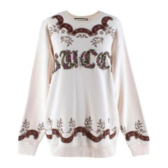 Gucci Ivory Floral Embroidered Oversized Jumper - Size M