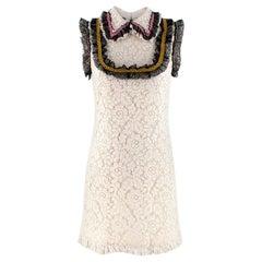 Gucci Ivory Lace Sleeveless Shift Shirt Dress with Lace Ruffled Trim 40