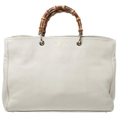 Gucci Ivory Leather Bamboo Large Shopper Tote