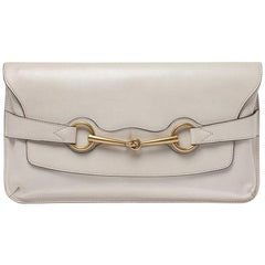Gucci Ivory Leather Bright Bit Oversized Clutch