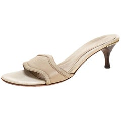 Gucci Ivory Leather Hysteria Embossed Slide Sandals Size 40