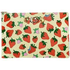 Gucci Ivory Leather Zumi Strawberry Print Pouch/Clutch Bag