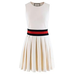 Gucci Ivory Pleated Gabardine Mini Dress XS