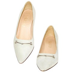 Gucci Ivory Suede Kitten Low Heels