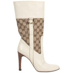Gucci Ivory White Monogram Boots - Size 38