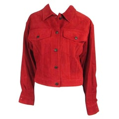 Gucci Jacket Red Suede Denim cut style 1990s