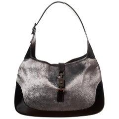 Gucci Jackie Grey Velvet Hobo Bag