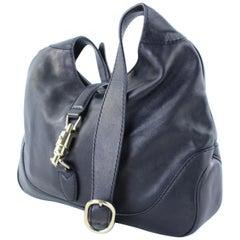 Gucci Jackie Long 10gr1103 Black Leather Hobo Bag