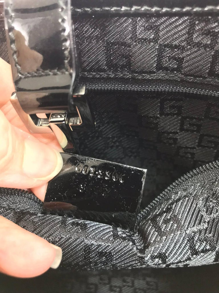Gucci Jackie O black patent leather handbag For Sale 4