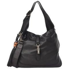 Gucci Jackie Pebbled Calfskin Black Medium Hobo Bag