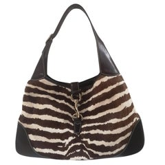 Gucci Jackie pony hair zebra shoulder bag