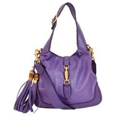 Gucci Jackie Purple Leather Fringes Bamboo Shoulder Bag 2000s