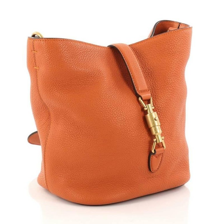8ec17b80a7f Orange Gucci Jackie Soft Bucket Bag Leather For Sale