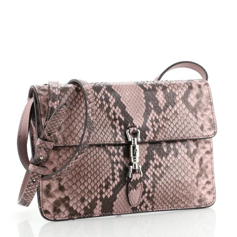 Gray Gucci Jackie Soft Convertible Clutch Python Mini For Sale