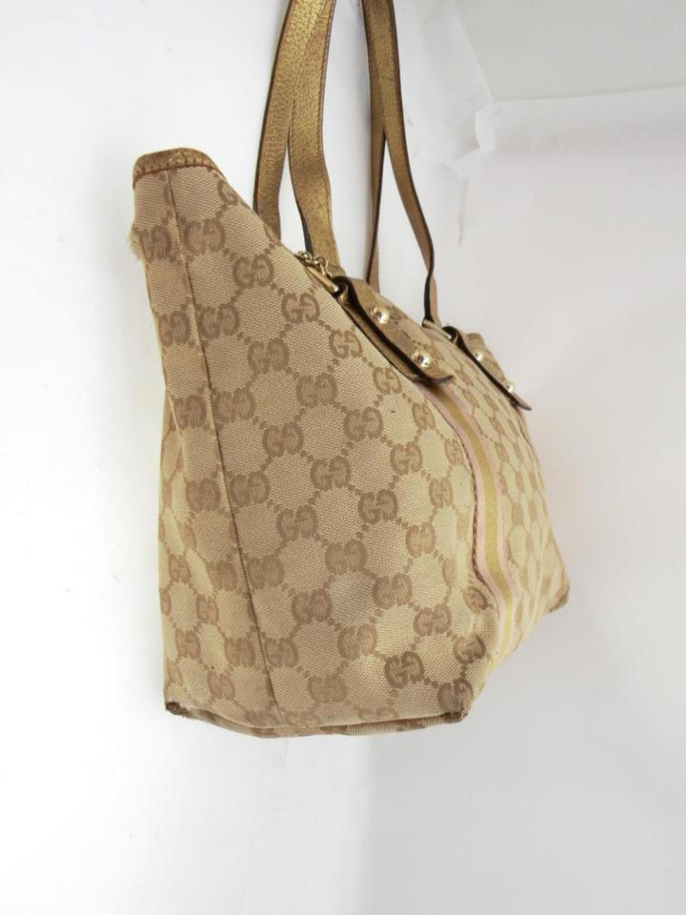 d06b25841f15d8 Gucci Jolicoeur Monogram Signtuare Web Sherry 231965 Beige Canvas Tote For  Sale at 1stdibs