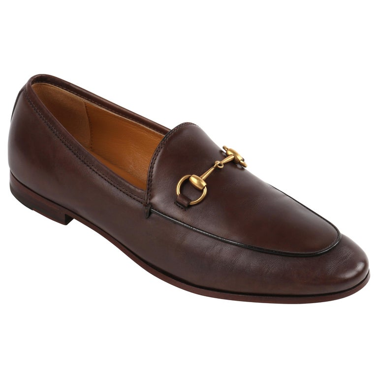 """GUCCI """"Jordaan"""" Fondente Brown Leather Round Toe Horsebit Loafers  For Sale"""