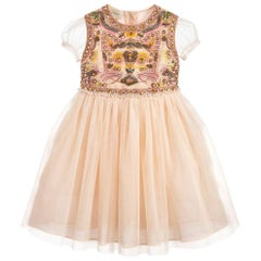 Gucci Kids Apricot Tulle Cat Dress