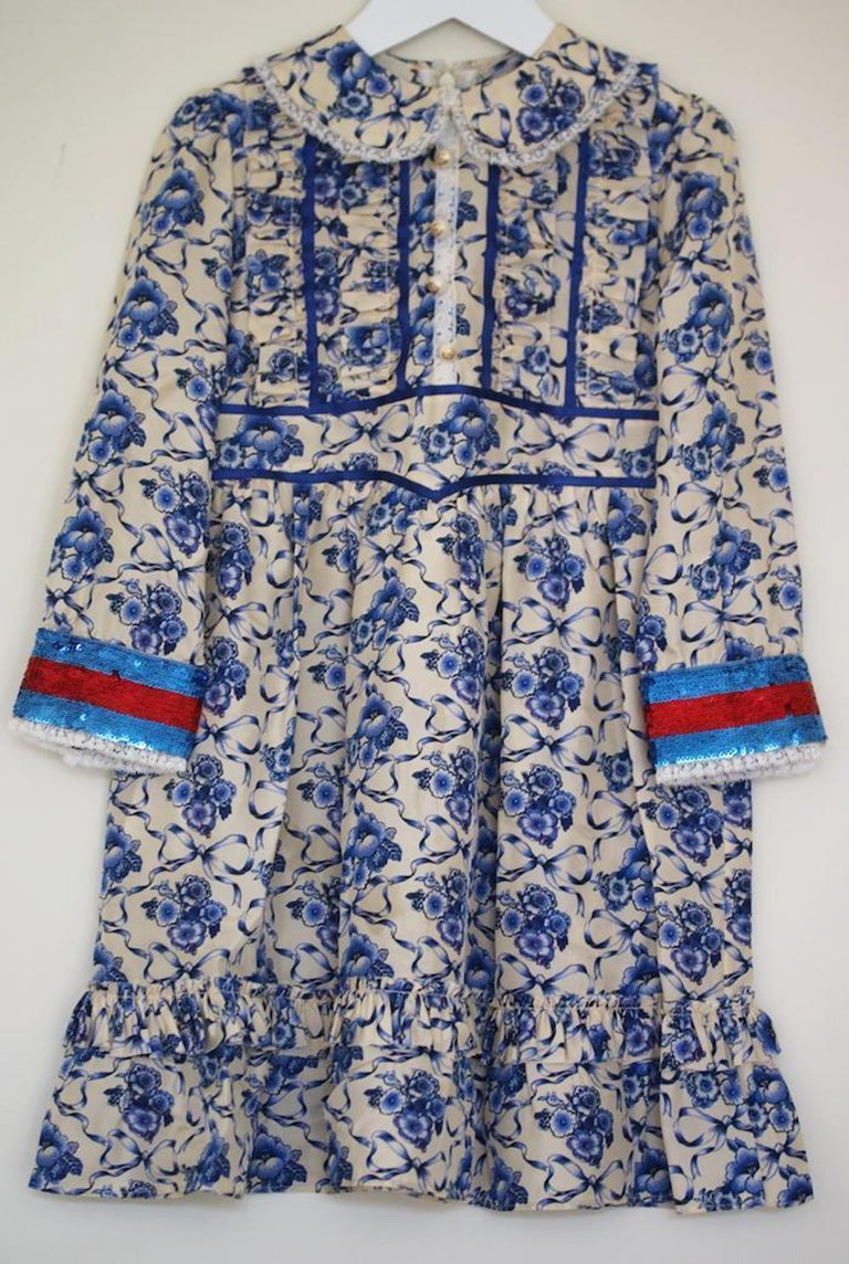 9e1833b24 *This item is a kids dress. Girls gorgeous ivory silk dress with beautiful  blue