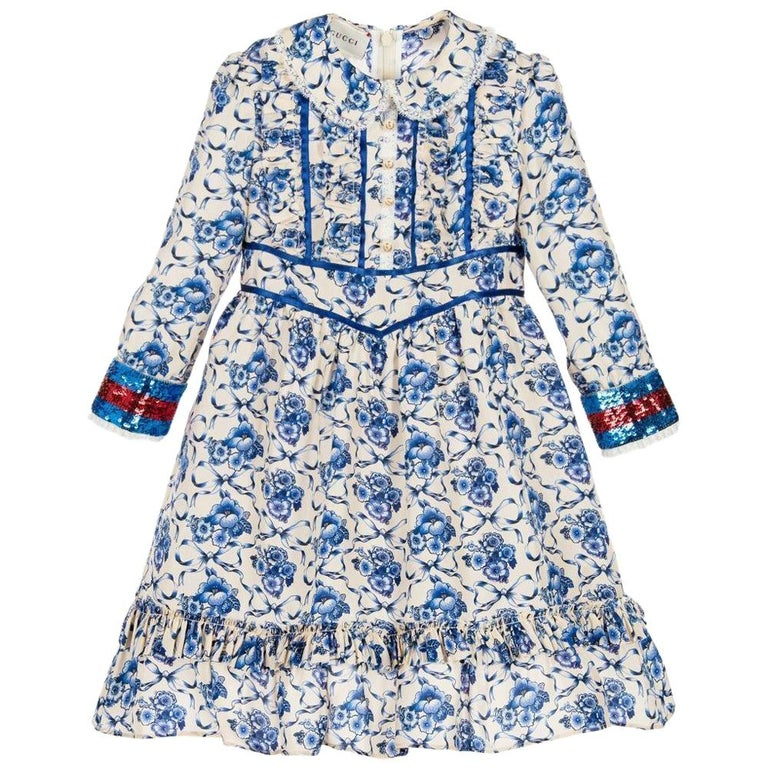 8a22330b0 Gucci Kids Floral Dress with Sequin Cuffs For Sale at 1stdibs