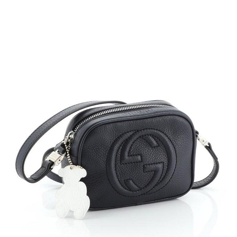 Black Gucci Kid's Soho Disco Crossbody Bag Leather Mini For Sale
