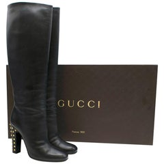 Gucci Knee Length Black Leather Boots With Studded Heel 40