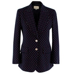 Gucci Knit Blue & Red Heart Tailored Jacket - Size US 4
