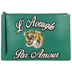 635b33006dd2 Gucci L' Aveugle Par Amour Zip Pouch Wristlet 4gj0115 Green Leather Clutch