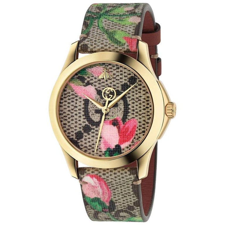 b6fc05a60 Gucci Ladies G-Timeless Gold-Plated Pink Blooms Leather Strap Watch  YA1264038A For Sale