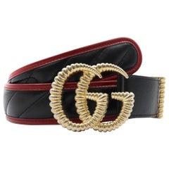 Gucci Ladies Matelassé Black/Red Leather Torchon Double G Buckle Belt