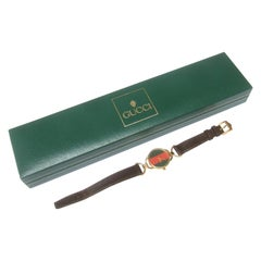 Gucci Ladies Red & Green Dial Brown Leather Strap Wristwatch in Gucci Box c 1980