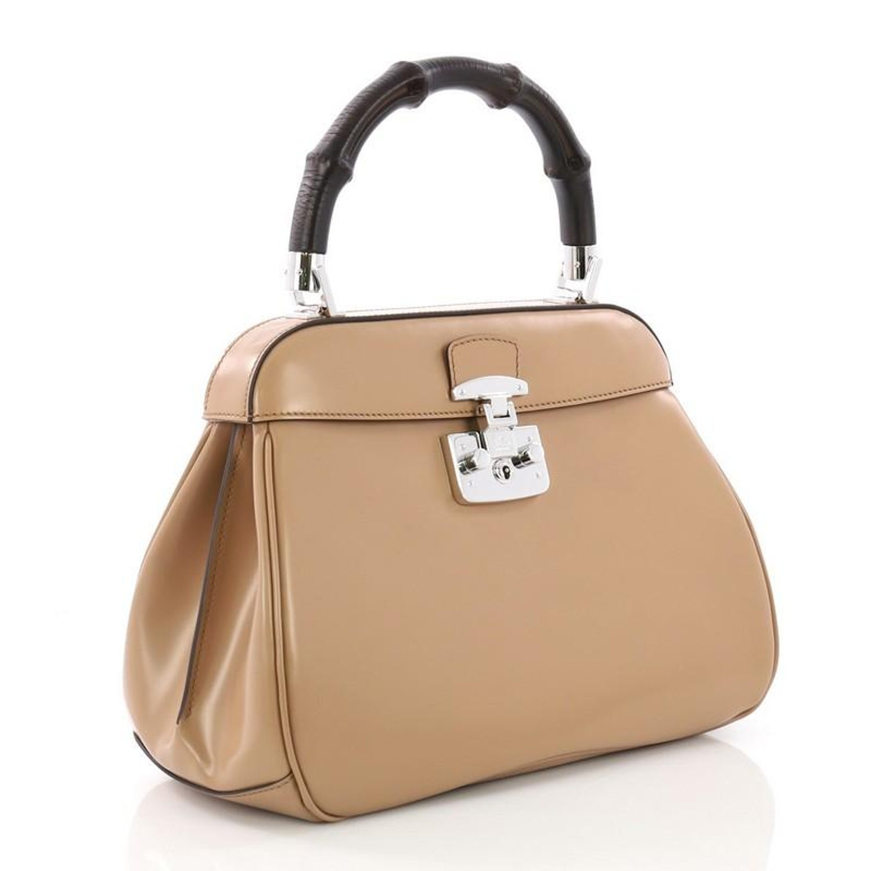 07230098ce0b Gucci Lady Lock Bamboo Top Handle Bag Leather Medium at 1stdibs
