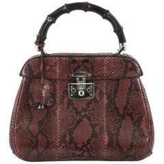 Gucci Lady Lock Bamboo Top Handle Bag Python Medium