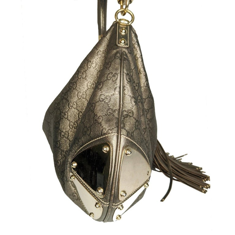 Gucci Large Babouska Indy Bag Top Handle Hobo In Fair Condition For Sale In Scottsdale, AZ