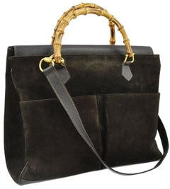 Gucci Large Bamboo Tote 870576 Black Suede Leather Satchel
