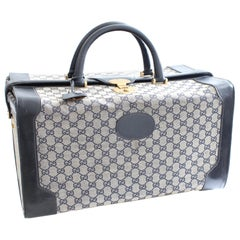 Gucci Large Duffel Weekender Tote Doctors Bag Vanity GG Canvas Leather 70s