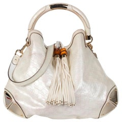 Gucci Large Indy in White Patent Guccissima leather