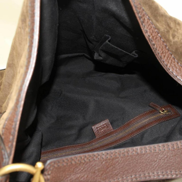 ae2733bc2e5 Black Gucci Large Jockey Hobo 868202 Brown Suede Leather Shoulder Bag For  Sale