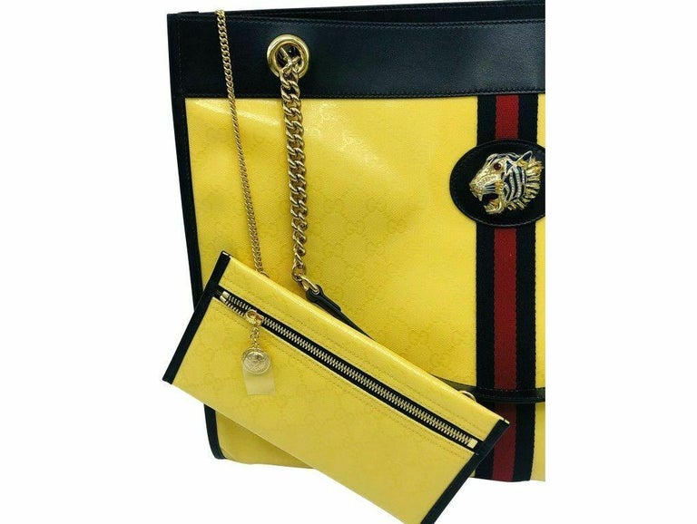 Gucci Large Rajah Tote Bag with Pouch - Yellow In New Condition For Sale In London, GB