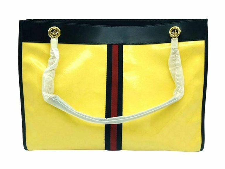 Gucci Large Rajah Tote Bag with Pouch - Yellow For Sale 1