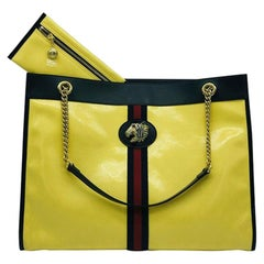 Gucci Large Rajah Tote Bag - Yellow Leather - Chain Strap and includes pouch