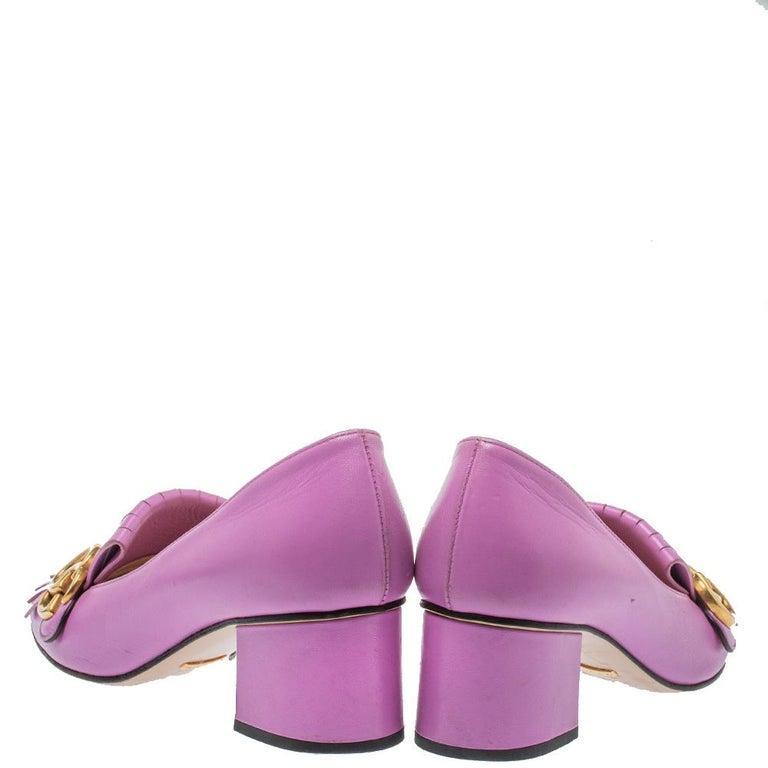 Purple Gucci Lavender Leather GG Marmont Fringe Loafer Pumps Size 38 For Sale