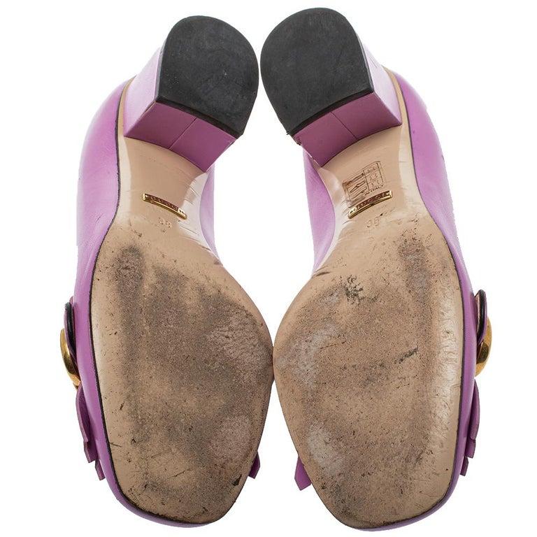 Gucci Lavender Leather GG Marmont Fringe Loafer Pumps Size 38 In Good Condition For Sale In Dubai, Al Qouz 2