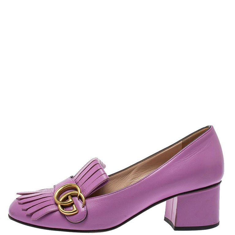 Women's Gucci Lavender Leather GG Marmont Fringe Loafer Pumps Size 38 For Sale