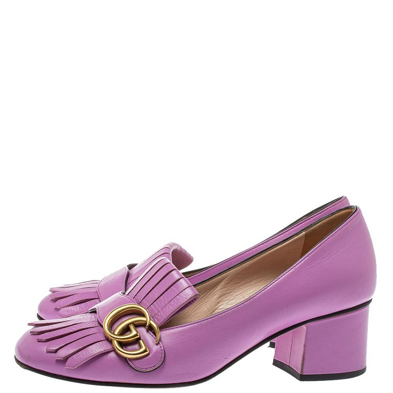 Gucci Lavender Leather GG Marmont Fringe Loafer Pumps Size 38 For Sale 1