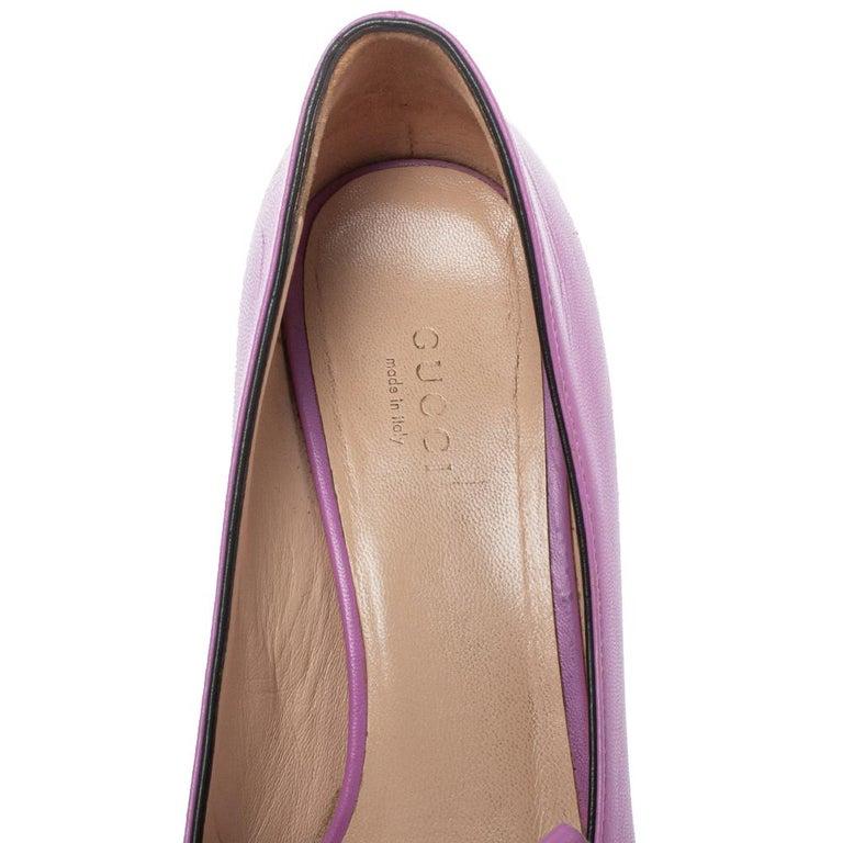 Gucci Lavender Leather GG Marmont Fringe Loafer Pumps Size 38 For Sale 3
