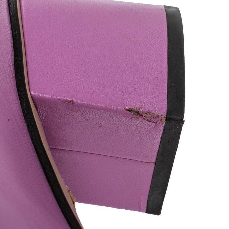 Gucci Lavender Leather GG Marmont Fringe Loafer Pumps Size 38 For Sale 4