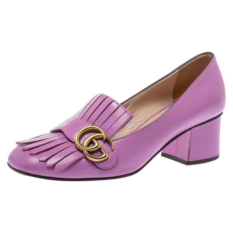 Gucci Lavender Leather GG Marmont Fringe Loafer Pumps Size 38 For Sale